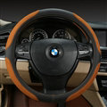 Luxury Genuine Leather Suede Car Steering Wheels Covers 15 Inch - Black Brown