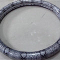 Snake Grain Glitter PU Leather Vehicle Steering Wheel Covers 15 inch 38CM - Sliver
