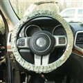 Winter Plush Cloth Fold Lace Universal Auto Steering Wheel Covers 15 inch 38CM - Green