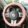 Winter Plush Cloth Fold Lace Universal Auto Steering Wheel Covers 15 inch 38CM - Pink