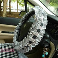 Women Checked Fold Lace Flax Car Steering Wheel Covers 15 inch 38CM - Black White