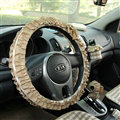 Women Elegant Plaid Lace Fold Car Steering Wheel Covers Cotton 15 inch 38CM - Coffee