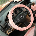 Women Elegant Plaid Lace Fold Car Steering Wheel Covers Cotton 15 inch 38CM - Pink