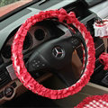 Women Elegant Plaid Lace Fold Car Steering Wheel Covers Cotton 15 inch 38CM - Red