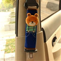 Cute Bear Kids Winter Plush Car Seat Safety Belt Covers Pads Car Decoration 2pcs - Blue