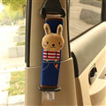 Cute Rabbit Kids Winter Plush Car Seat Safety Belt Covers Pads Car Decoration 2pcs - Blue