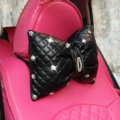 1PCS Bowknot Leather Car Neck Pillow General Beads Diamond Auto Headrest for Women - Black