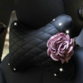 1PCS Flower Crystal Leather Car Neck Pillow Four Seasons General Auto Headrest for Women - Pink