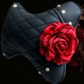 1PCS Flower Crystal Leather Car Neck Pillow Four Seasons General Auto Headrest for Women - Red