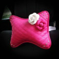 1PCS Flower Crystal Leather Car Neck Pillow Four Seasons General Auto Headrest for Women - Rose