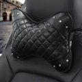 1PCS Rhinestone Leather Car Neck Pillow Four Seasons General Auto Headrest for Women - Black