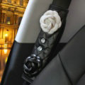 1pcs Camellia Leather Car Safety Seat Belt Cover Crystal Shoulder Pads Accessories - Black