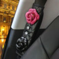1pcs Camellia Leather Car Safety Seat Belt Cover Crystal Shoulder Pads Accessories - Rose Black