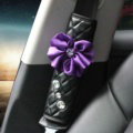 1pcs Car Safety Seat Belt Covers Elegant Crystal Flower Leather Shoulder Pads Accessories - Purple