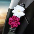 1pcs Car Safety Seat Belt Covers Women Creative Crystal Flower Leather Shoulder Pads - Black
