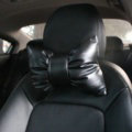 2PCS Bowknot Auto Headrest Leather Car Neck Pillow Four Seasons General for Women - Black