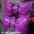 2PCS Bowknot Auto Headrest Leather Car Neck Pillow Four Seasons General for Women - Purple