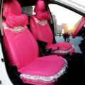 Cute Auto Seat Covers for Women PU Leather Universal Lace Packs Car Seat Cushion Set - Rose