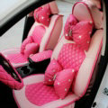 Automotive Seat Covers for Women PU Leather Universal Packs Car Seat Cushion Set - Rose Beige