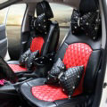 Automotive Seat Covers for Women Quality PU Leather Universal Car Seat Cushion Set - Red