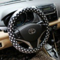 Calssic Polka Dot Leather Car Steering Wheel Covers PVC 38CM/15'' Anti-catch - Black Red
