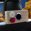Camellia Leather Car Tissue Box Holder Case Auto Seat Back Hanging Tissue Bag - Beige