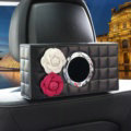 Camellia Leather Car Tissue Box Holder Case Auto Seat Back Hanging Tissue Bag - Black