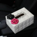 Creative Camellia Leather Crystal Car Tissue Paper Box Holder Case Interior Accessories - White Rose