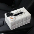 Creative Camellia Leather Crystal Car Tissue Paper Box Holder Case Interior Accessories - White