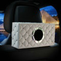 Creative Rivet Leather Car Tissue Paper Box Holder Case Seat Back Hanging Tissue Bag - White