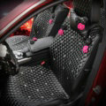 Crystal Camellia Leather Car Seat Cushion Universal Female Auto Seat Covers 10pcs Sets - Black
