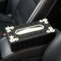 Crystal Daisy Flower Leather Car Tissue Paper Box Holder Case Interior Accessories - Black