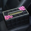 Crystal Daisy Flower Leather Small Car Tissue Paper Box Holder Case Interior Accessories - Black Rose