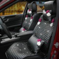 Crystal Flowers Leather Car Seat Cushion Universal Female Auto Seat Covers 10pcs Sets - Black
