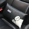 Cute Embroidery Car Seat Waist Pillows Women PU Leather Auto Interior Accessories 1pcs - Black