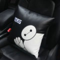 Cute Embroidery Car Seat Waist Pillows Women PU Leather Auto Square Cushions 1pcs - Black