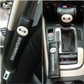 Cute Embroidery Leather Car Safety Seat Belt Cover Handbrake and Gear Cover 4pcs Sets - Black