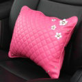 Daisy Flower Women Rhinestone Car Seat Waist Pillows PU Leather Auto Accessories 1pcs - Rose