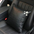 Daisy Flower Women Rhinestone Car Seat Waist Pillows PU Leather Square Cushions 1pcs - Black