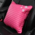 Daisy Flower Women Rhinestone Car Seat Waist Pillows PU Leather Square Cushions 1pcs - Rose