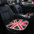 England UK Flag Leather Car Seat Cushion Front and Rear Universal Auto Pads 3pcs Set - Black