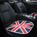 England UK Flag Leather Car Seat Cushion Front and Rear Universal Auto Pads 3pcs Set - Blue
