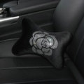 Fashion Diamond Flower Car Neck Pillows Headrest Soft Plush Auto Interior Decoration 1pcs - Black