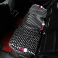 Flower Studded Crystal Leather Car Back Seat Cushion Woman Universal Pads 1pcs - Black