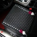 Flower Studded Crystal Leather Car Front Seat Cushion Woman Universal Pads 1pcs - Black