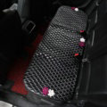 Flower Studded Leather Car Back Seat Cushion Woman Queen Style Universal Pads 1pcs - Black