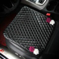 Flower Studded Leather Car Front Seat Cushion Woman Queen Style Universal Pads 1pcs - Black