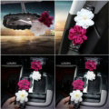 Gorgeous Flower Crystal Leather Rearview Mirror Cover Handbrake and Gear Cover 5pcs Sets - Black
