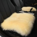 High Quality Wool Universal Car Seat Cushion Winter Fur One Piece Pads 1pcs - Beige