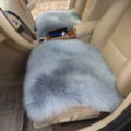 High Quality Wool Universal Car Seat Cushion Winter Fur One Piece Pads 1pcs - Gray